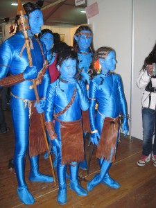 A family dressed as the avatars