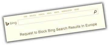 Bing search page gives the option of blocking results in Europe