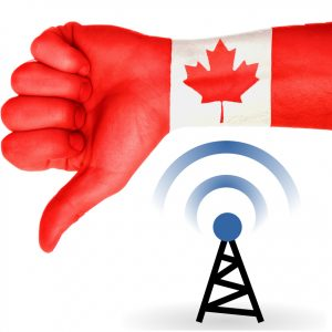 A large thumbs down painted with the Canadian flag above a cell data symbol