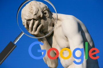 A statue looks ashamed as a magnifying glass hovers over its face and the Google logo is displayed in the corner.