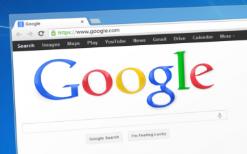 Google search engine in an internet browser window