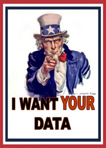 """An image of Uncle Sam with the text, """"I want your data"""""""